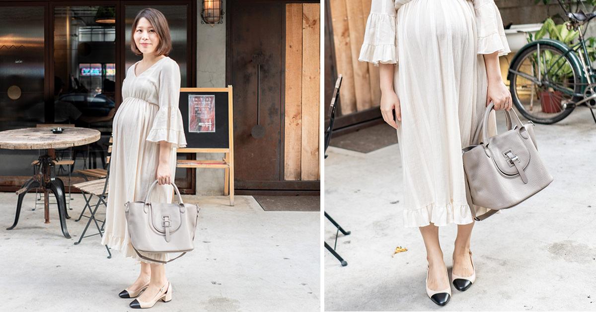 夏日的米白色浪漫長洋裝 | Meli Melo包包 & Sam Edelman跟鞋